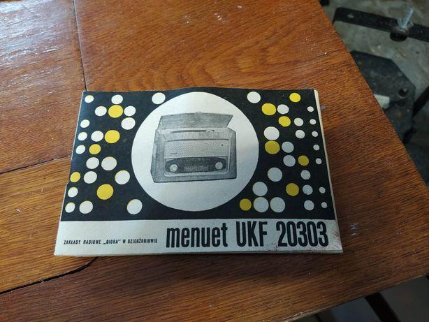 Stara zabytkowa instrukcja do radia lampowego menuet ukf 20303 prl ant