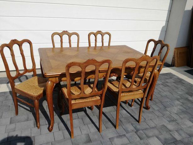 Stół drewniany z 6 krzesłami w stylu ludwikowskim