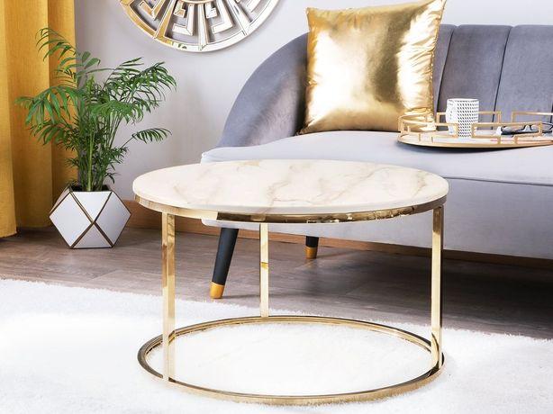 Mesa de centro branca e dourada CORAL - Beliani
