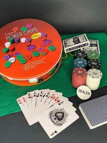 Набор для покера Poker Set 120 фишек с полотном,2 колоды карт