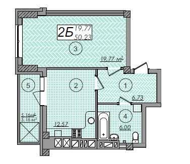 Велика квартира 50м2 в новобудові