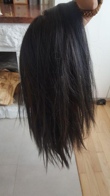 peruka koronka lace front włosy brąz 50 cm i