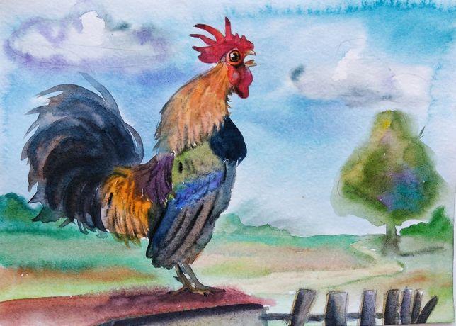 Картина,открытка акварелью Утро в деревне