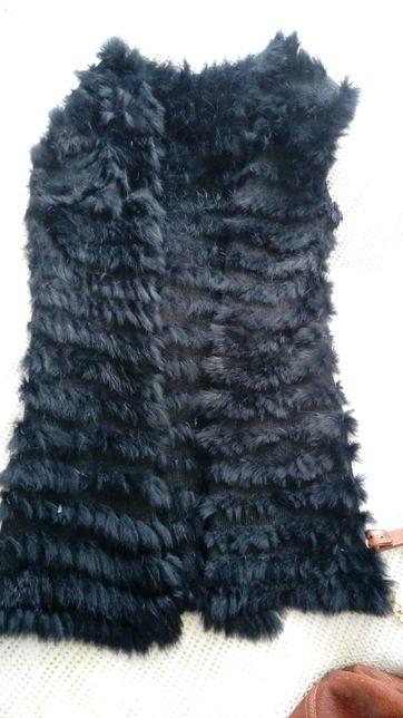 Kamizelka królik futro czarne Armanii Jeans