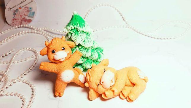 Новогодние молды,формы для мыла,свечейБычки,елочка,шишечка,мандарины