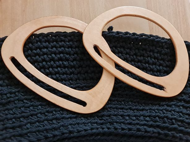 Nowe drewniane uchwyty/ rączki do torebki handmade, jasny brąz, 2 szt.