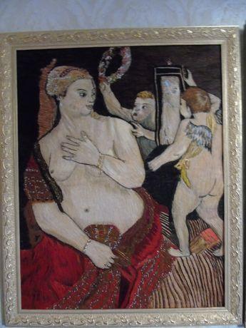 Вышитая картина Гладью Венера с зеркалом