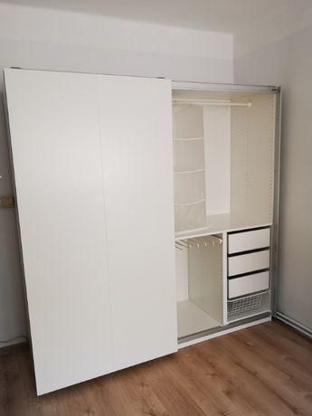 Szafa Ikea Pax Hasvix Dwumodułowa Rozsuwana Biała 200 cm x 200 cm