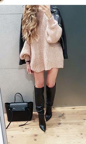 Zestaw 3 swetrów moherowych z balkonowymi rękawami Zara