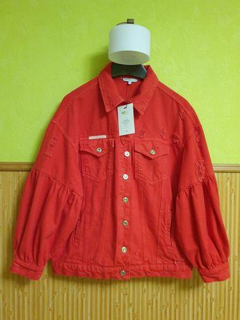 Новая Tommy Hilfiger красная джинсовка джинсовая куртка коттон m 38
