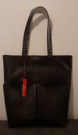 Czarna torba torebka shopper Pierre Cardin
