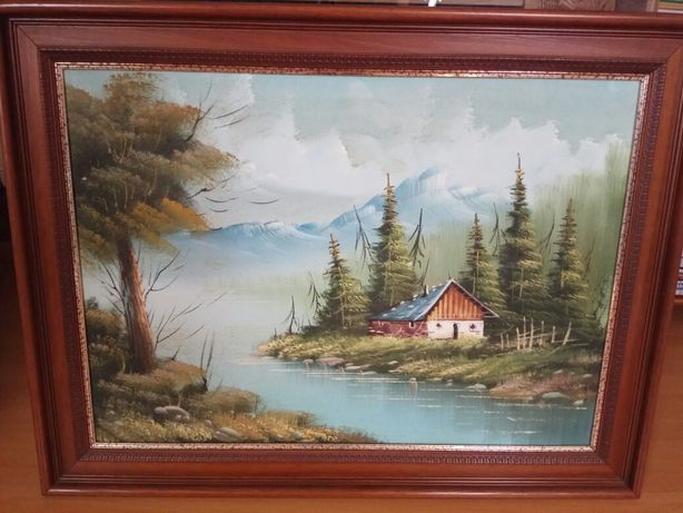 Quadro com pintura a óleo com 83,5 cm por 63 cm
