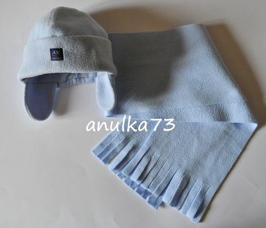 Błękitny polarowy zestaw czapka AX i długi szalik na 2-4 lata 92-104