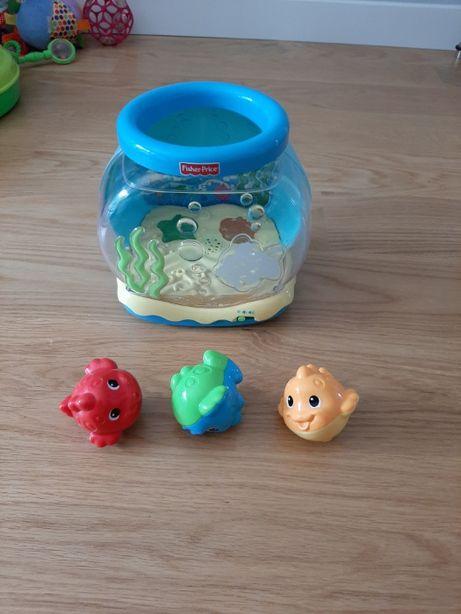 Fisher Price zestaw 4 zabawek: akwarium, krokodyl, żółw i lokomotywa