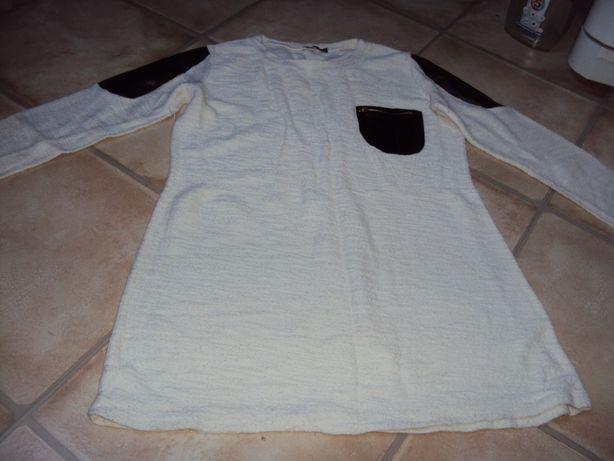 Sweter biały z ekoskórką bluza długi m/l 38/40