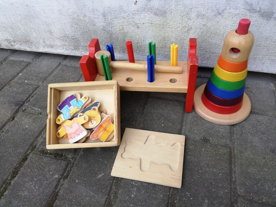 Zabawki drewniane Wieża Ikea, wbijanka wbijak, układanka misie Rzeszów - image 1