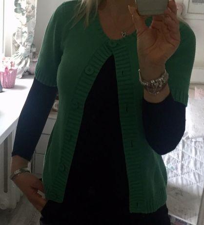 Zielony sweterek kardigan krótki rękaw 36 38