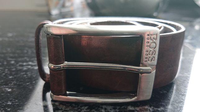 Hugo Boss pasek meski brazowy skóra naturalna skórzany elegancki L 85