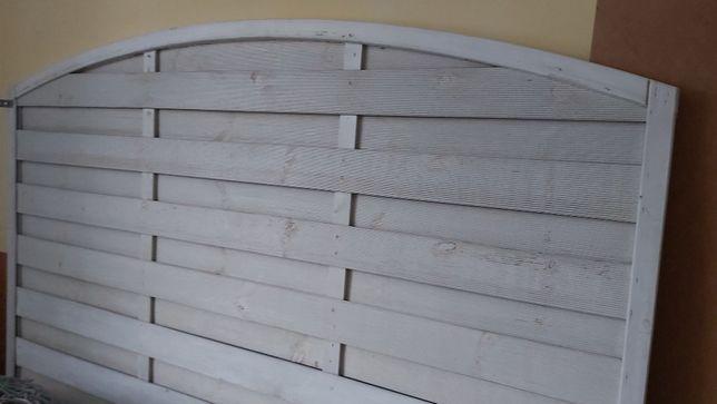 płot pełny z łukiem biały 180 x180/160 cm