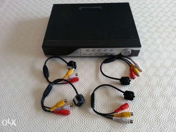 Sistema video vigilancia CCTV 4 cameras minusculas + DVR 4 canais
