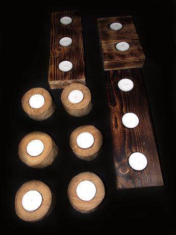 Drewniane świeczniki tealight, handmade, dekoracja