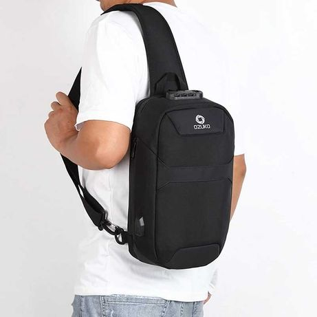 Мужской однолямочный рюкзак OZUKO большой ёмкости USB-порт