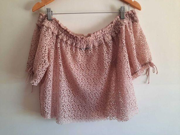 Top rosa em renda ombros descobertos da Zara Tam.M