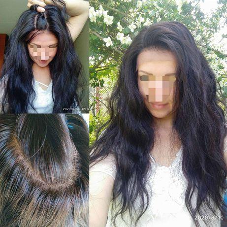 Парик натуральный реалистичная имитация кожи славянский вьющийся волос