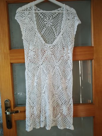 Biała długa tunika sukienka narzuta sweter handmade szydełkowana