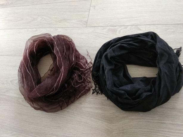 Apaszka wiosenny szalik bordowy czarny