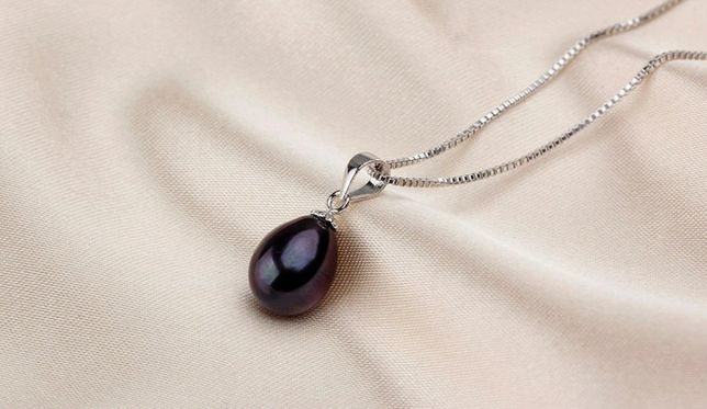 Naszyjnik czarna perła słodkowodna srebro 925