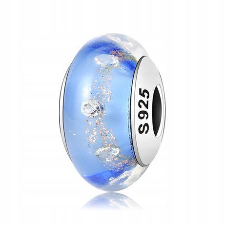 Charms Murano Niebiesko Złoty do Pandora srebro925