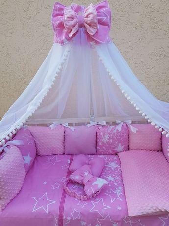 Набор постельного белья в детскую кроватку, бортики, одеяло. подушка