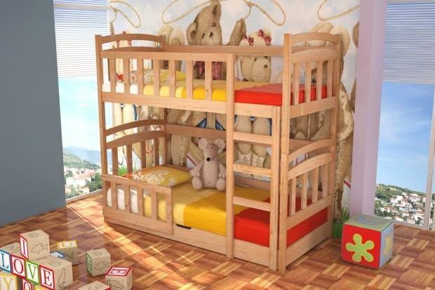 Drewniane łóżko piętrowe dla dzieci Michał z materacami w zestawie