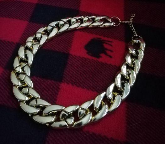 Толстая цепочка на шею чекер серебро
