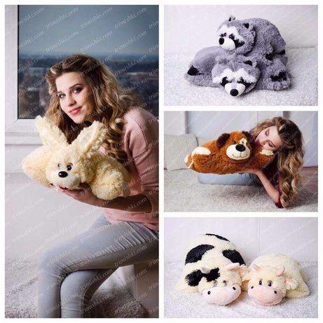Большая игрушка подушка корова енот панда кот собака мишка лев заяц