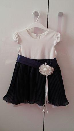 Elegancka, wizytowa sukienka w kolorze biało-granatowym rozm. 110