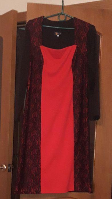 Платье красное с гипюровыми вставками Полтава - изображение 1