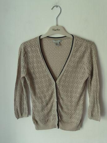 Ażurowy sweter sweterek beżowy ecru h&m 38 nude ażur kardigan dziurki