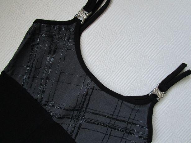 Sukienka wieczorowa długa czarna ramiączka rozm S 36