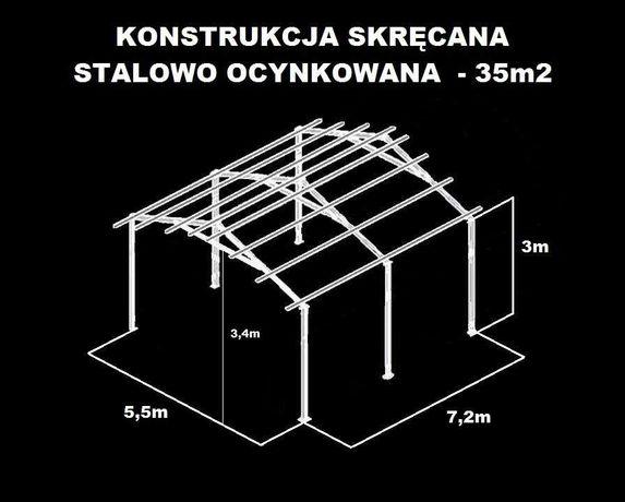 Wiata Rolna Garaż 5,5x7,2 Hala Magazyn Konstrukcja OCYNKOWANA