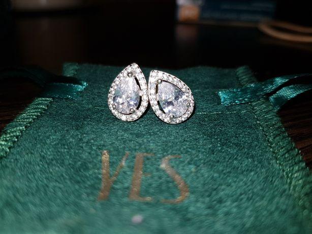 Kolczyki YES srebrne kryształki ślubne ślub eleganckie delikatne