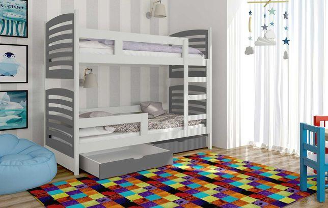 Łóżko piętrowe dla dzieci Janek 2 z szufladami, materace gratis!
