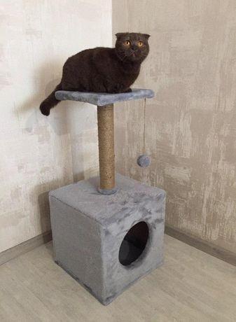 Когтеточка для котов с домиком. Дряпка. Лежанка для кошки. TERM-469