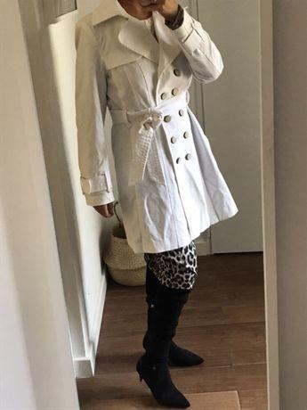 ZARA Płaszcz płaszczyk trencz biały rozm. XL jak nowy