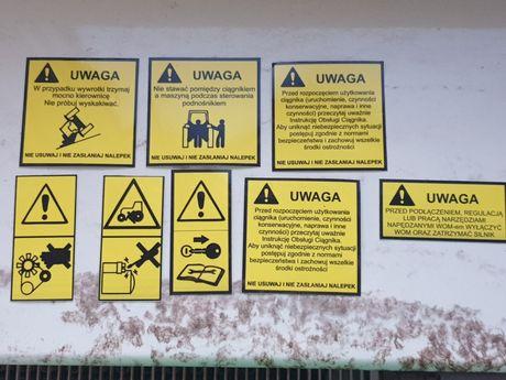 Naklejki ostrzegawcze Ciągniki Pronar