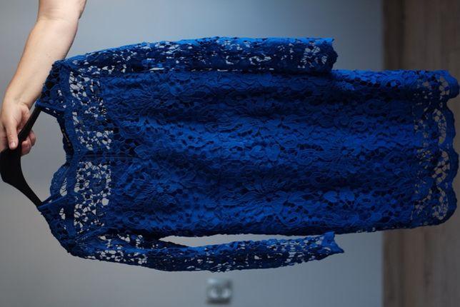 Koronkowa sukienka chaber królewski gipiura granatowa niebieska
