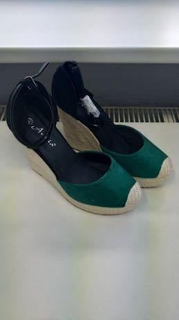 Koturny 40 nowe buty zielone słoma