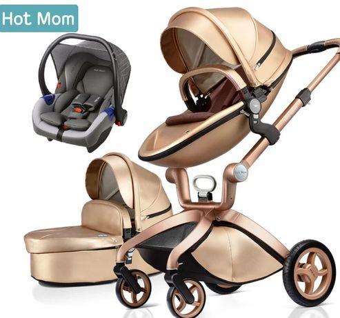 Wózek 3w1 Hot Mom - kolor ZŁOTY nowość 2021 - JEDYNY W POLSCE