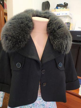 Пальто, болеро, натуральный мех, песец